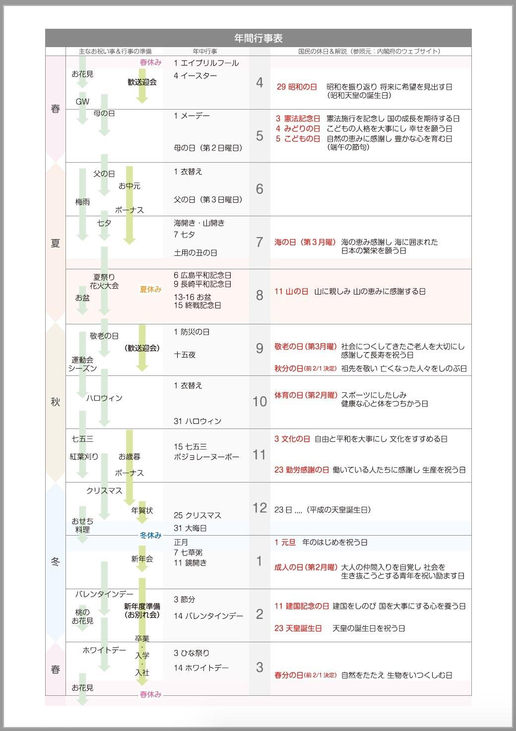 2020年度の祝日&年中行事表[PDF無料ダウンロード]